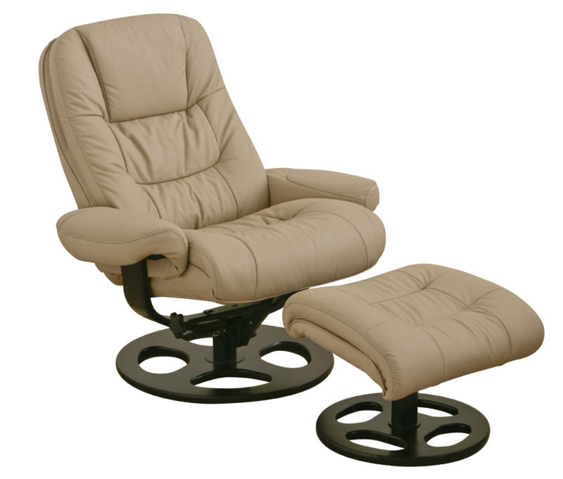 Merveilleux Swivel High End Recliners In Ivory Sheme With Foot Stool And Adjustable  Design