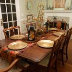 table chairs plates fireplace