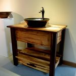 traditional small bathroom vanities with vessel sinks made of solid wooden with rack underneath plus cool sink and faucet for simple bathroom ideas