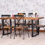 traditional wrought iron kitchen table for dining room set with solid wood top and wrought iron chairs in combination with wood and wood floor plus shelf