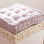tropical ikea floor pillow design with small floral patterna dn tuft texture in rectangle shape