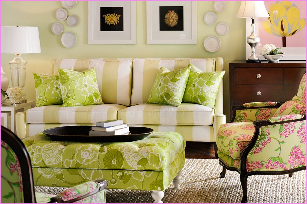 Amazing Tropical Living Room Design By Lilly Pulitzer Furniture With Otoman Coffee  Table And Creamy Stripe Patterned