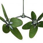 Uniqe Green Leaves Design Dual Head Ceiling Fans More Colorful Room