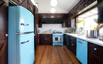 unique black and blue retro style appliance idea on hardwood floor with glass window and wooden material