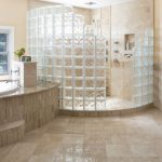 Unique Block Glass Enclosed Showers Modern Luxurious Huge Bathroom Huge Granite Bathub Decorative Flower Granite Bathroom Countertop