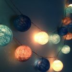 unique chinese lantern style modern string lighting in bedroom with various color