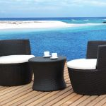 unique coastal wooden patio deck idea with best patio furniture brands of black sofa with white chairs and round coffee table