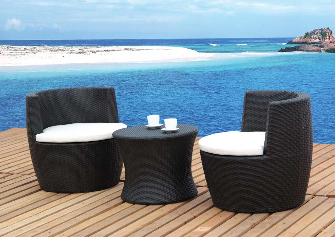 Unique Coastal Wooden Patio Deck Idea With Best Patio Furniture Brands Of  Black Sofa With White