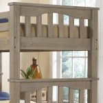 unique crib size bunk bed design made of wood in gray color with potted plant and brown beddding set