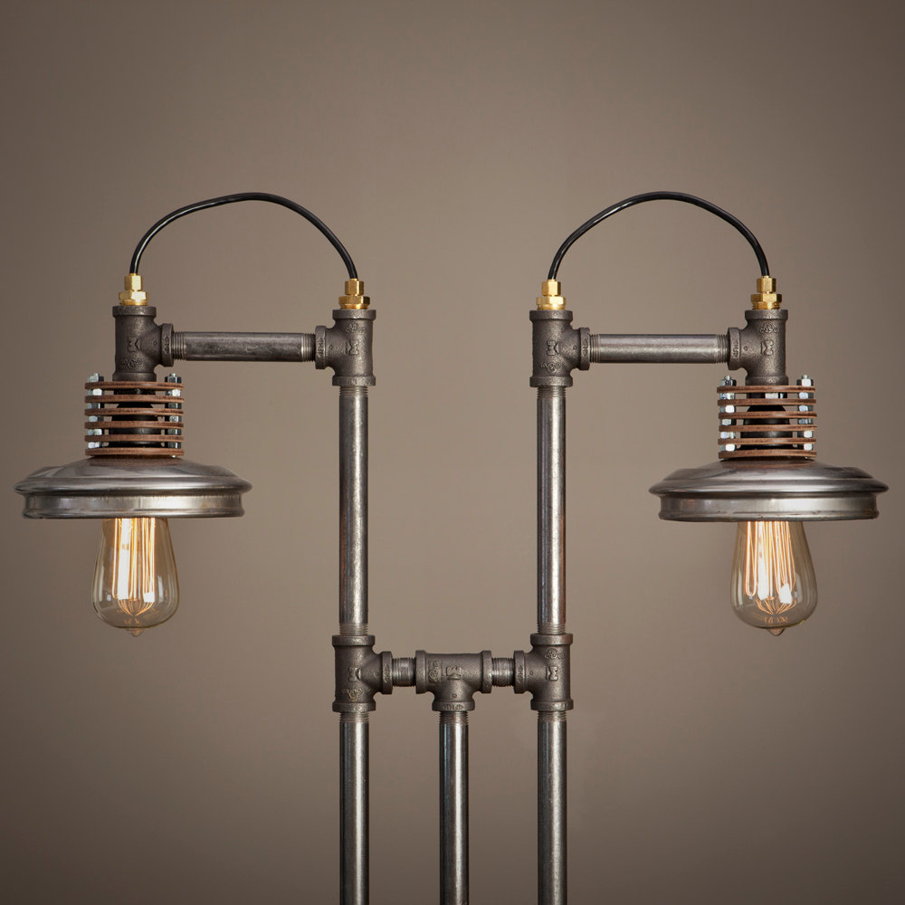 unique industrial iron pipe furniture in the shape of lamps suspension ...