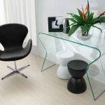 unique modern all glass long console tables unique black white small chairs black and white table clock modern black working chair decorative flower natural wooden floor