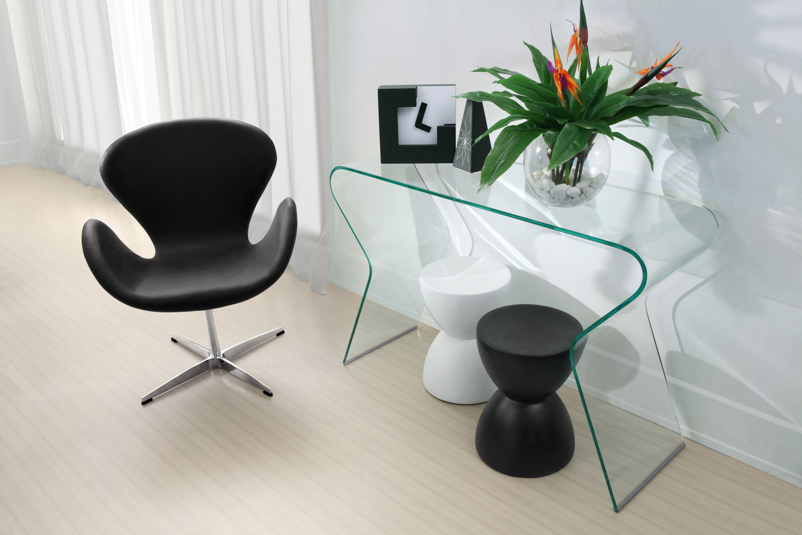 Between wood and glass long console tables homesfeed unique modern all glass long console tables unique black white small chairs black and white table geotapseo Choice Image