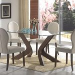 unique modern shaped wooden table base for glass top rectangular glass table light brown fur rug white brown wooden chairs charming flower vas hanging wall picture