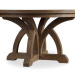 unique shaped 84 round dining table idea with artistic beam with carved style