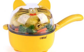 unique shaped mini electric skillet in cat shape with long holder with cat pattern on the transparent cover