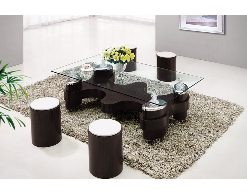 Urban Style Living E Idea With Unique Gl Coffee Table And Black Round Stools On Gray