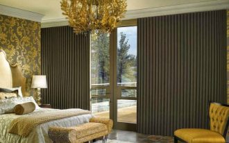 vertical cells window covering for sliding glass door luxurious elegant bedroom gold tones beautiful unique golden hanging lamp gold color chair small white fur rug