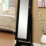 vintage black framed beveled floor mirror idea with legs aside classic ceramic beneath cream wall with picture