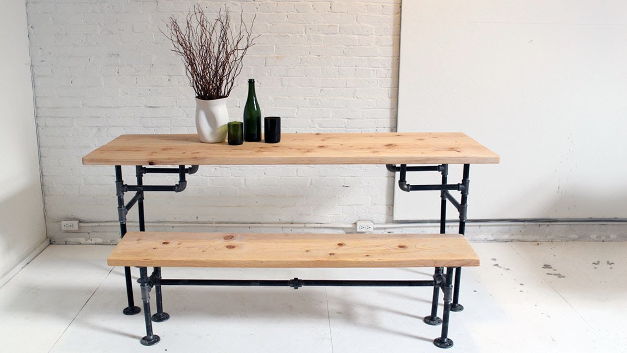 Diy iron pipe furniture for vintage industrial interior look homesfeed Homemade wooden furniture