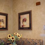 wall faux finish frames glass flower sofa