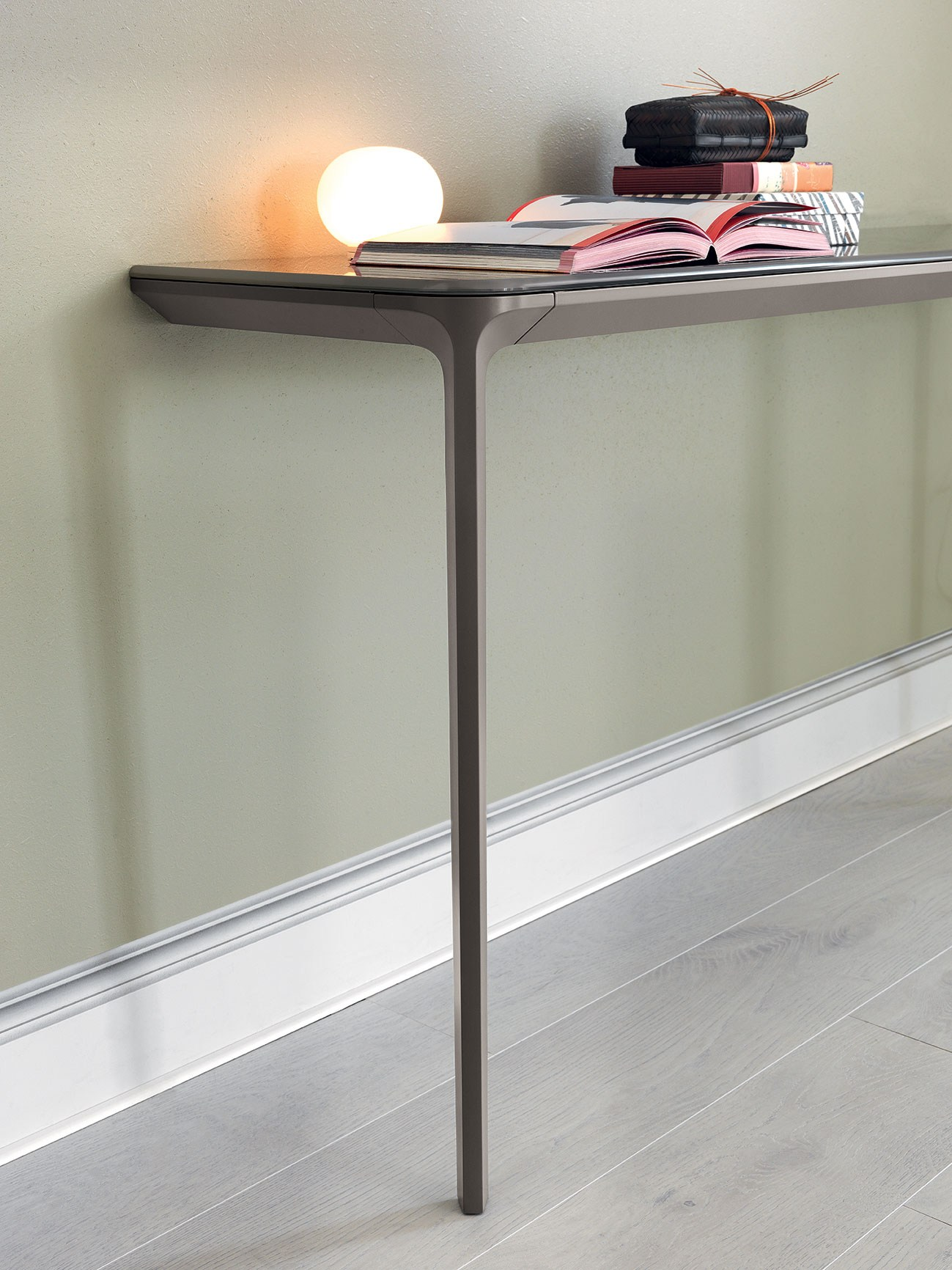 Attractive Wall Mounted Slim Console Table For Modern Home Furniture Ideas Decorated  With Gray Wooden Floor