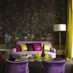wallpaper lamp curtains sofas table