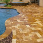 walnut travertine pavers pool deck walnut natural limestone backyard patio blue swimming pool backyard outdoor space