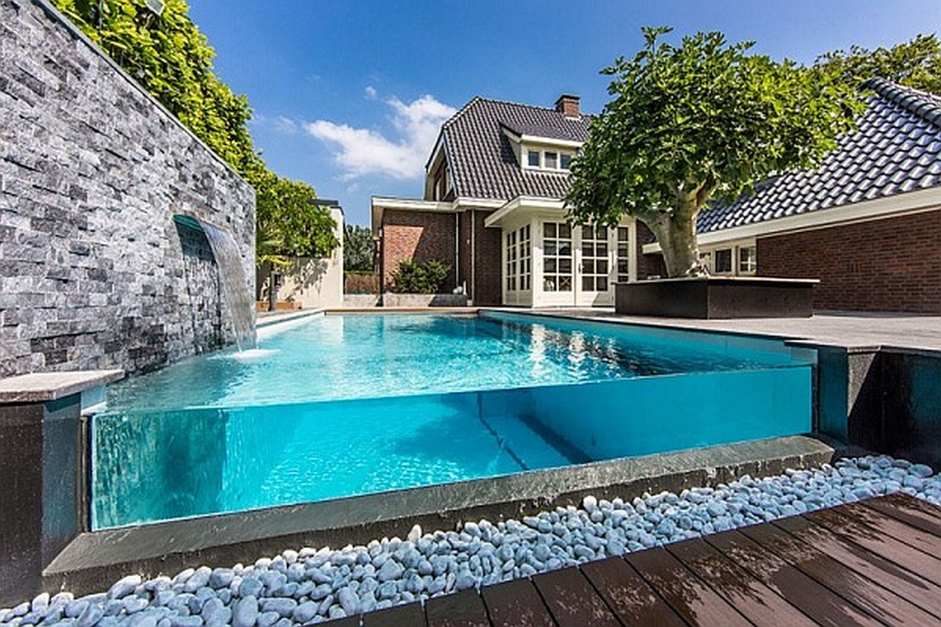 cool pools with waterfalls in houses