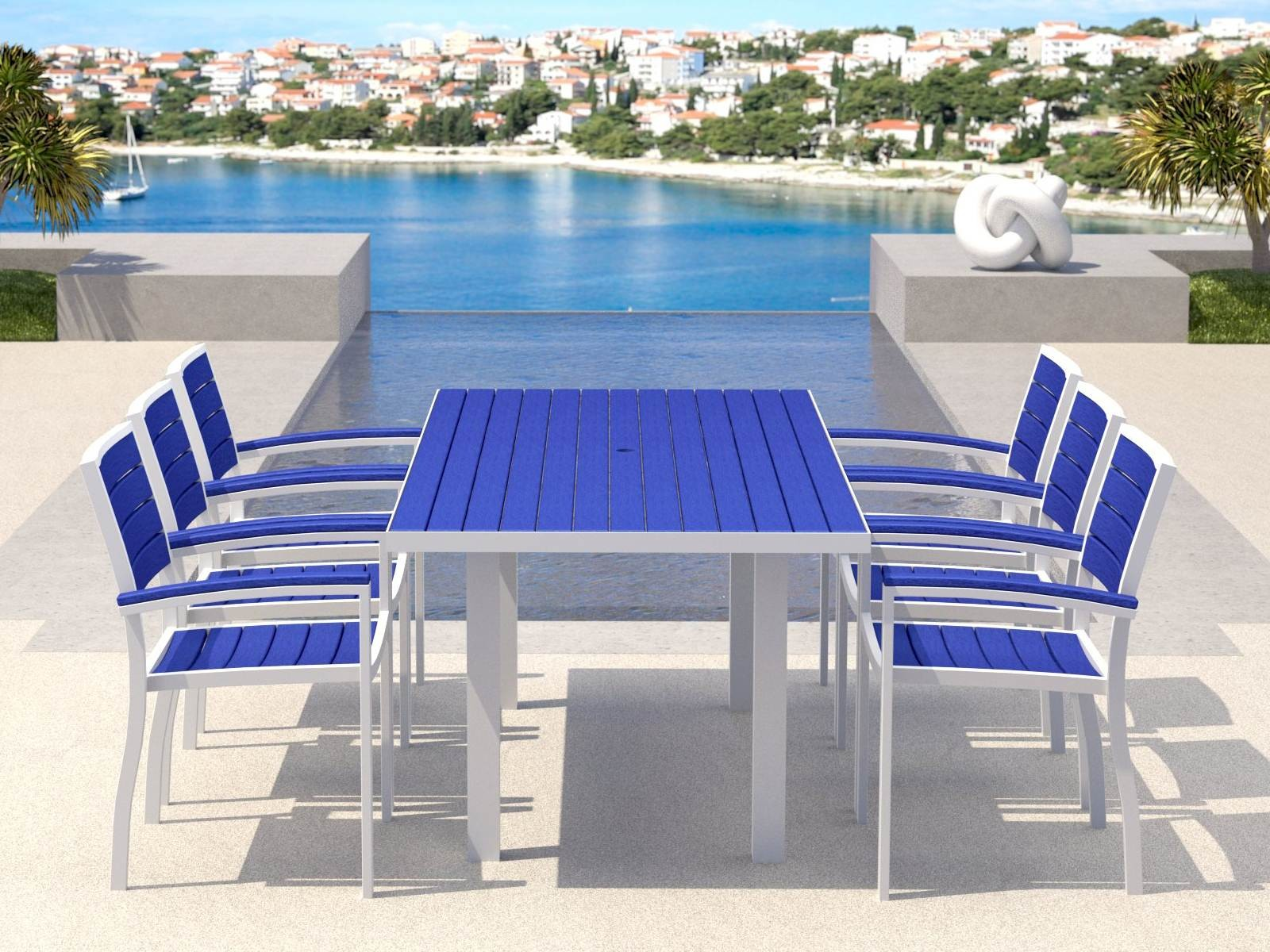 Be earth friendly with outdoor recycled milk jug furniture for Backyard pool furniture