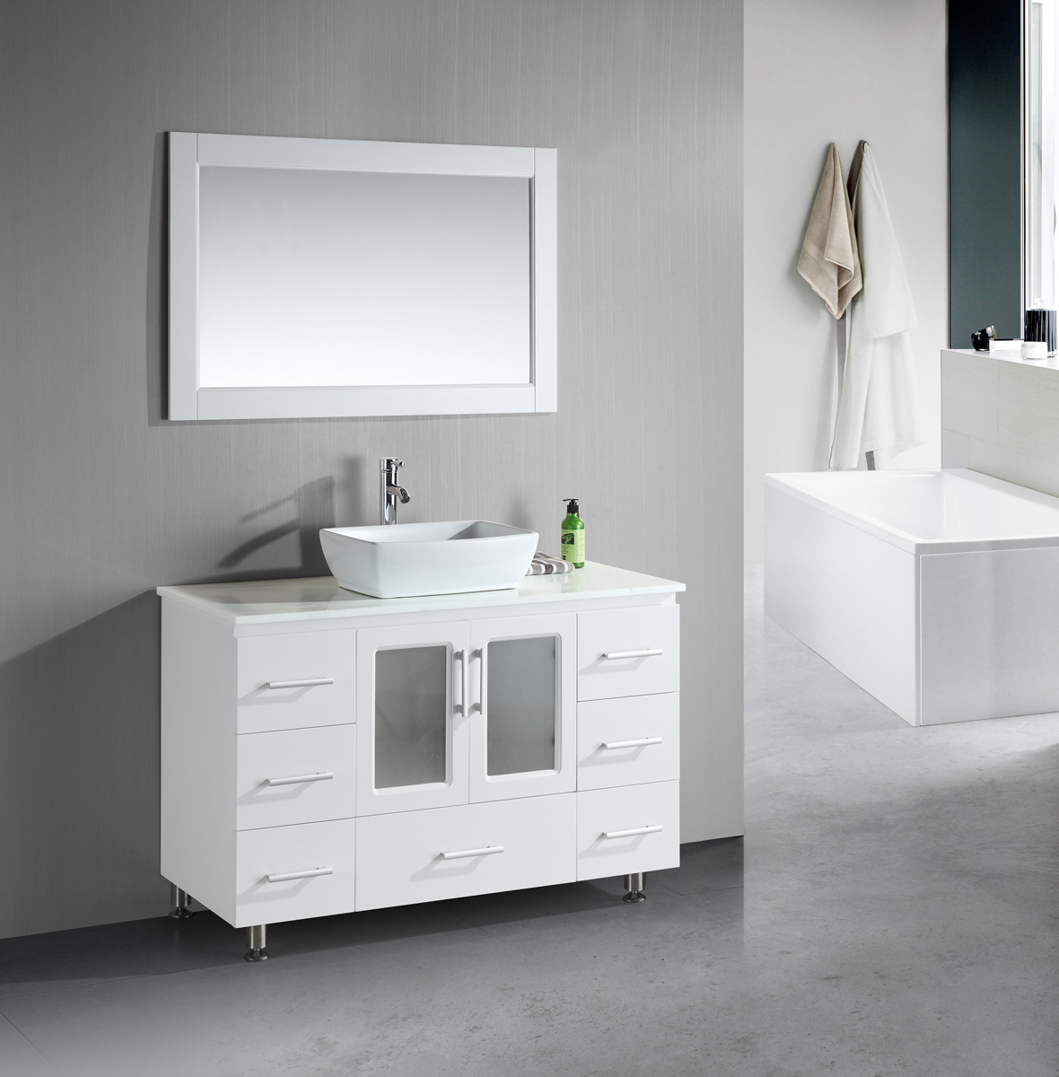 Small bathroom vanities with vessel sinks to create cool for Minimalist small bathroom design