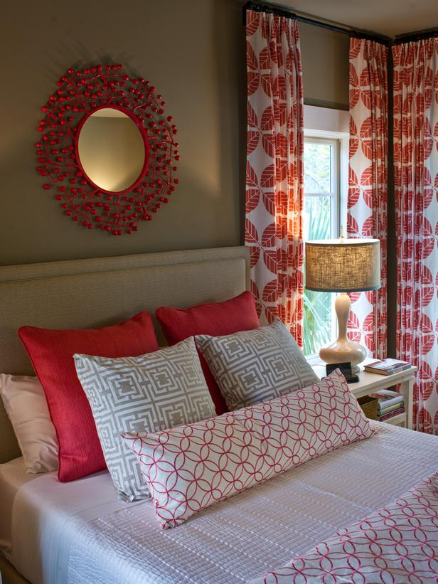 white patterned curtains in combination with red sheme installed on glass window in bedroom decorating ideas - Patterned Curtains
