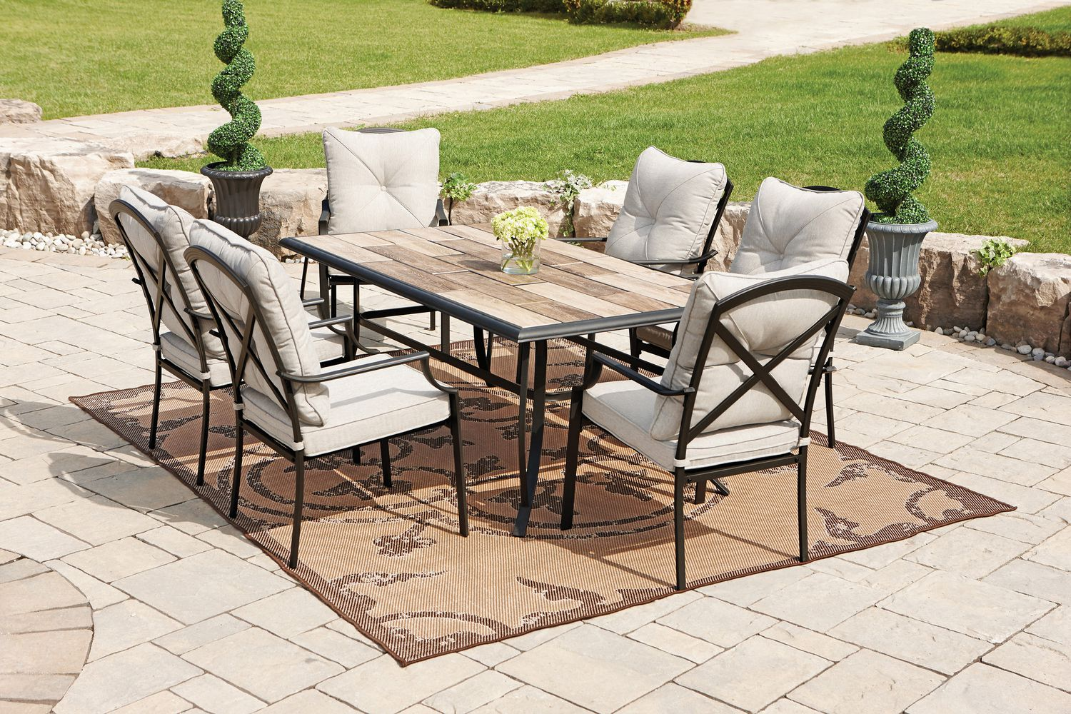 white set of walmart patio chairs idea with black wooden frame and rustic  table on brown. Walmart Patio Chair  How to Upgrade Your Outdoor Space   HomesFeed