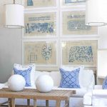 white slipcovered sofa for modern living room with patterned blue decorative cushions plus wooden coffee table and two pendant lamp and impressive photos