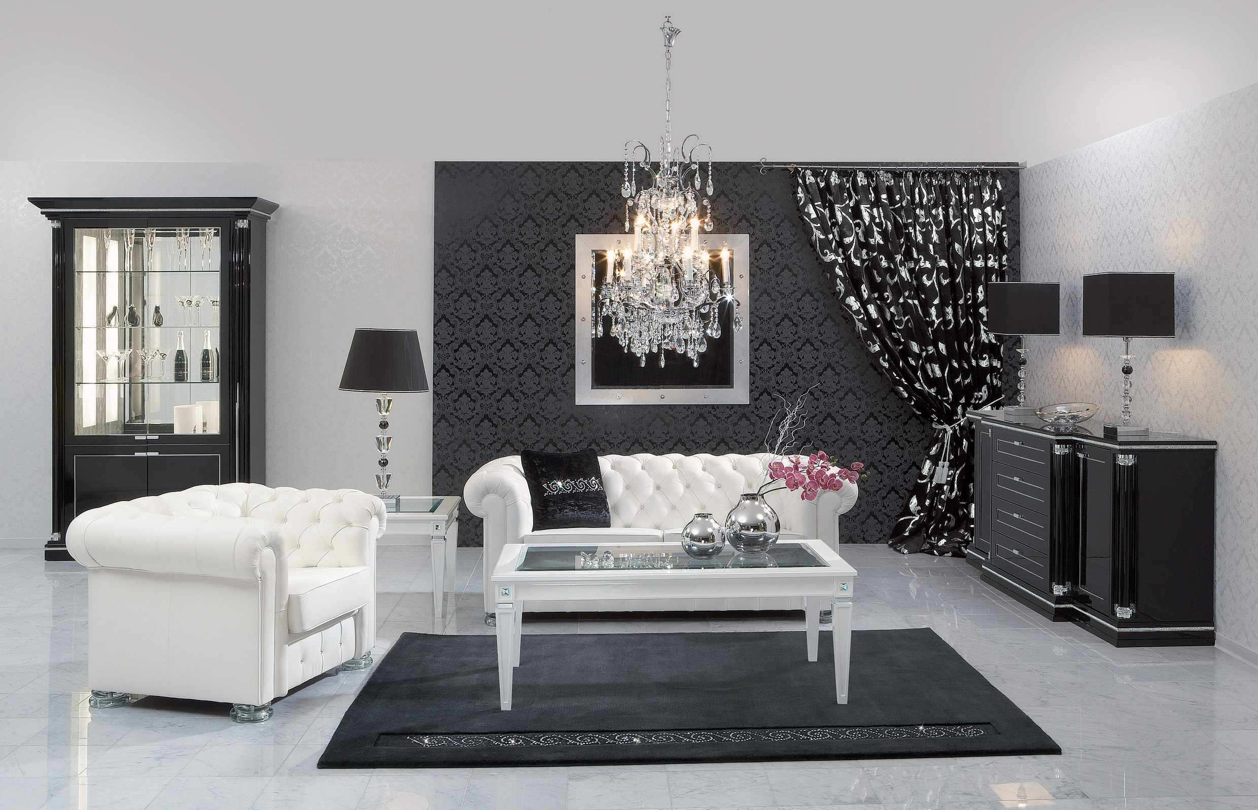 modern furniture design for living room. White Sofas Black Rug Pillows Lamps Cabinet Buffet Chandelier Modern Furniture Design For Living Room