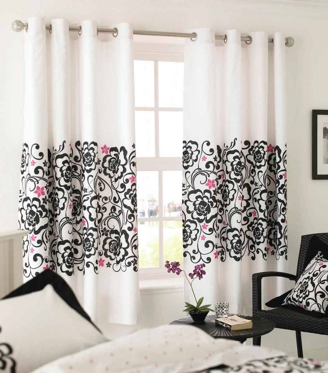 Black and white curtains bedroom - Window Treatment In Bedroom Ideas With White Patterned Curtains Together With Black Armchair And Round Coffee
