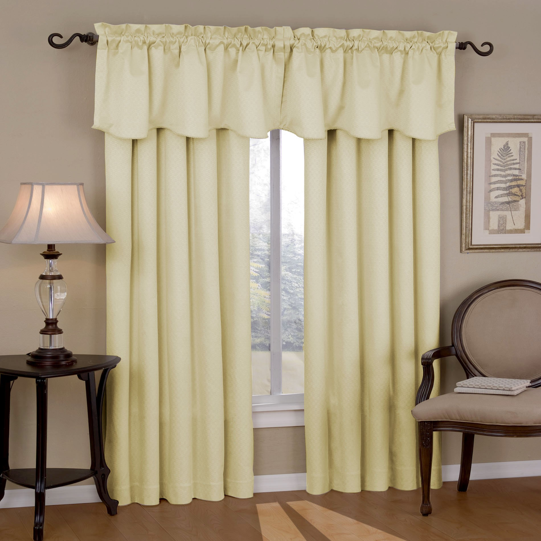 Window Treatment With Sophisticated Soft Sound Reducing Curtains With  Window Valances Plus Wooden End Table In