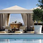 wonderful cool pool cabana plans in the rooftob with comfy lounge chaise and luxury cabana plus potted plants