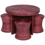 wonderful magenta rattan coffee table design in round shape with stools idea