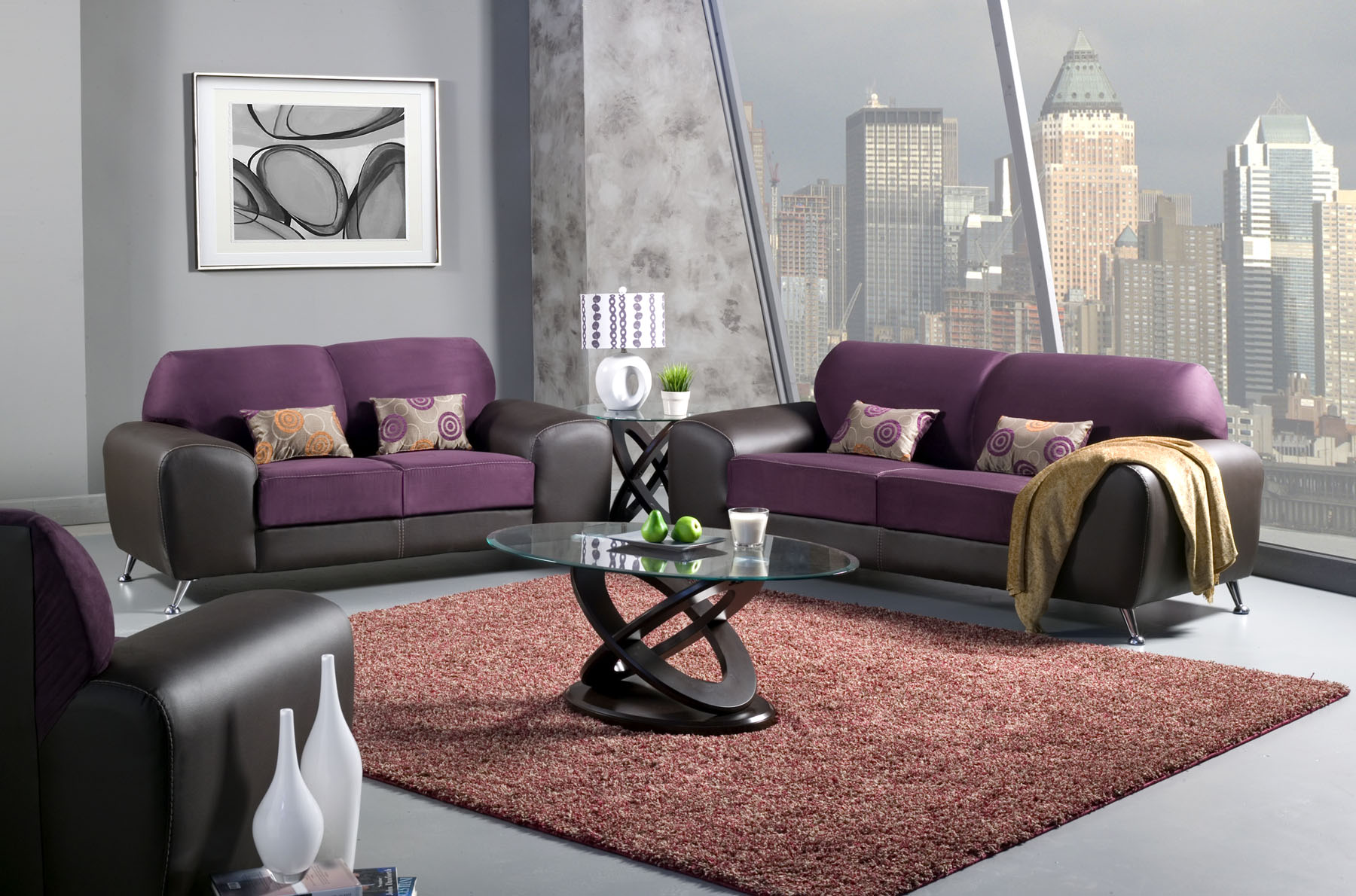 Wonderful Modern Living Room With Purple Black Couch With Golden Loveseat  Set And Unique Round Glass