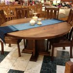 wonderful natural wooden 84 round dining table idea with centerpiece and wooden chairs with tall backrest on mosaic tile flooring