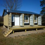 wonderful shipping container shed decoration for house with three windows glas and wooden patio