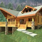 wondrous ethnic log cabin style home design in beige tone with sharp roof idea with concrete walkway and stone poles on large grassy meadow