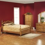 wood bed cabinet dresser rug lamp