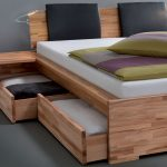 wood bed storage pillows bedsheet