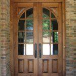 wood front door glass