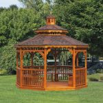 wood gazebo kits octagon stained wood gazebo for green outdoor space