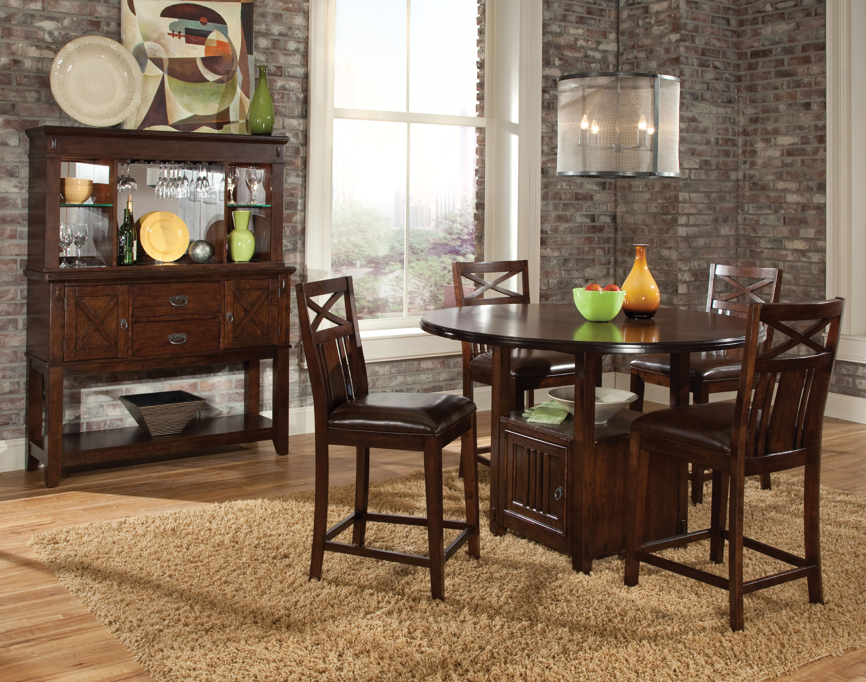 Wood Hutch Rug Table Chairs