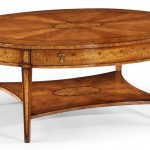 wooden high end coffee tables in light brown finishing and oval shape plus rack beneath for living room furniture ideas
