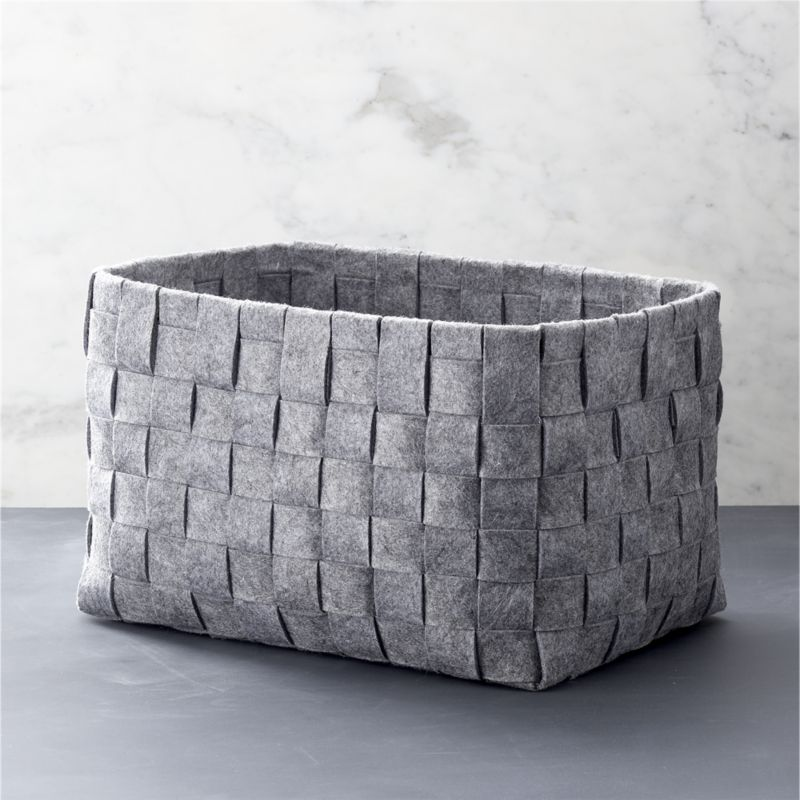 Woven Grey Felt Storage Bin For Home And Accessories
