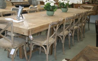 12 Seat Dining Room Wood Table And Chairs WIth Flower Accessories